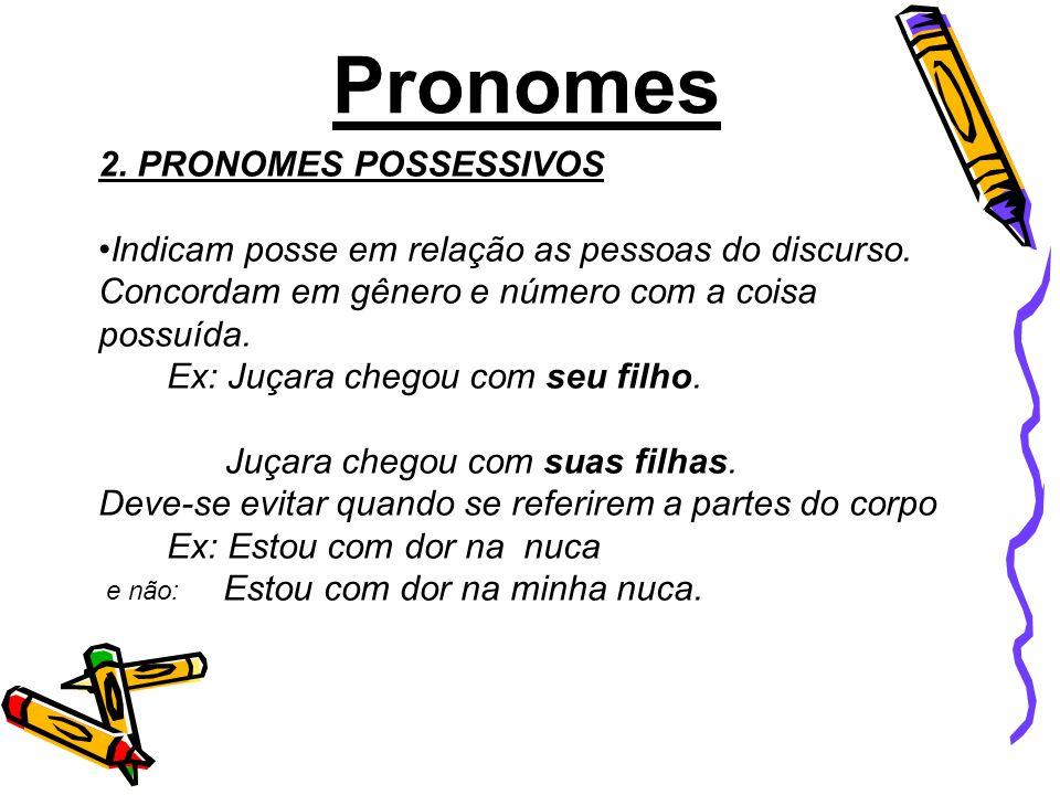 2.PRONOMES POSSESSIVOS Indicam posse em relação as pessoas do discurso.