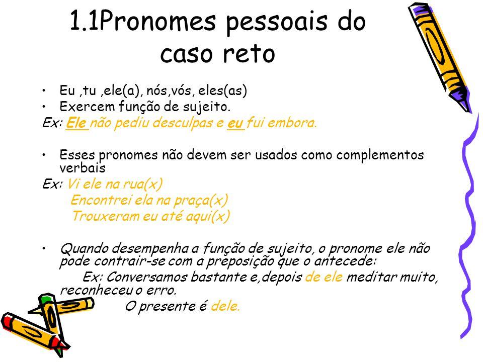 1.1Pronomes pessoais do caso reto Eu,tu,ele(a), nós,vós, eles(as) Exercem função de sujeito.