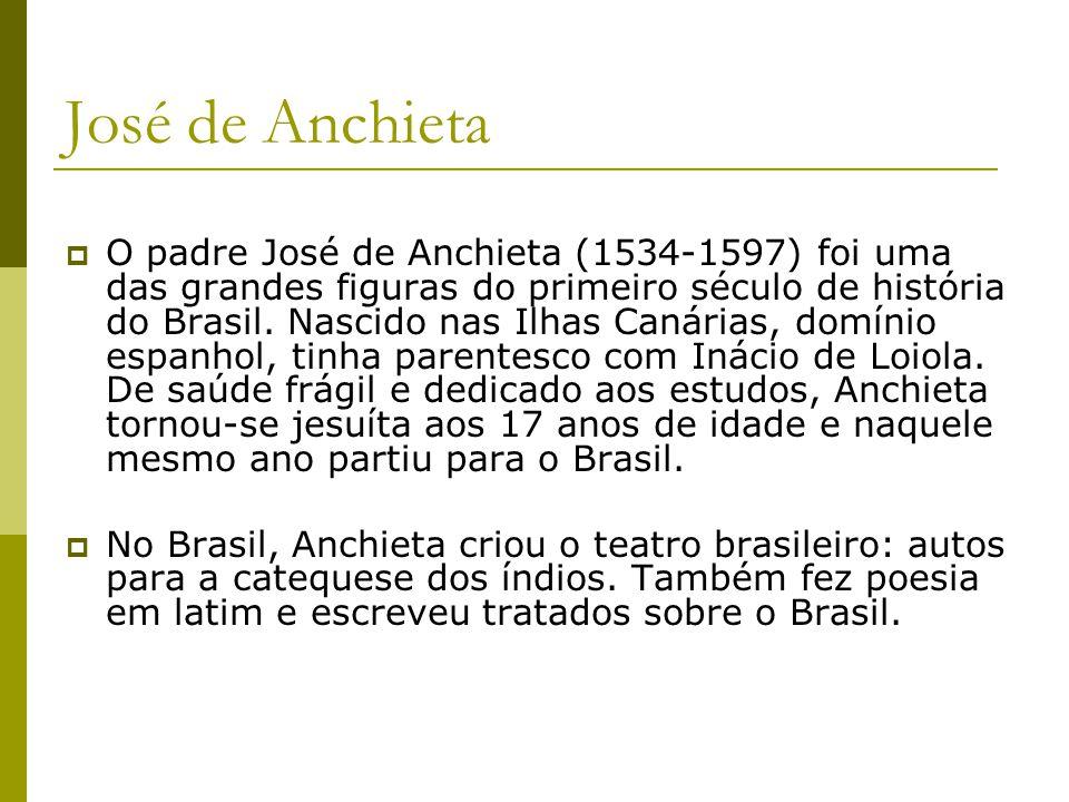 José de Anchieta O padre José de Anchieta (1534-1597) foi uma das grandes figuras do primeiro século de história do Brasil. Nascido nas Ilhas Canárias