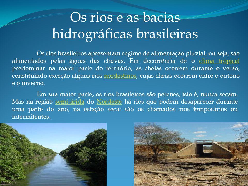 Os rios brasileiros apresentam regime de alimentação pluvial, ou seja, são alimentados pelas águas das chuvas.