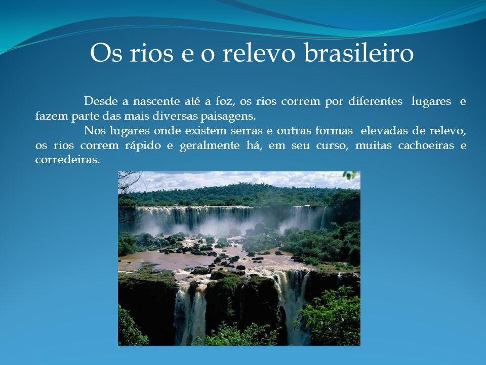 Os rios e o relevo brasileiro Desde a nascente até a foz, os rios correm por diferentes lugares e fazem parte das mais diversas paisagens.