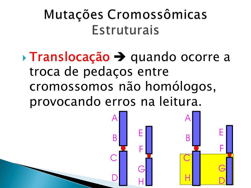 Translocação quando ocorre a troca de pedaços entre cromossomos não homólogos, provocando erros na leitura.