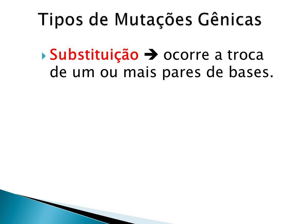 Substituição ocorre a troca de um ou mais pares de bases.