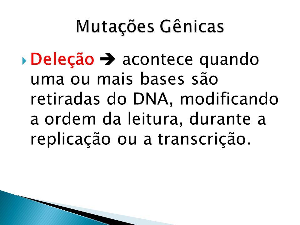 Deleção acontece quando uma ou mais bases são retiradas do DNA, modificando a ordem da leitura, durante a replicação ou a transcrição.