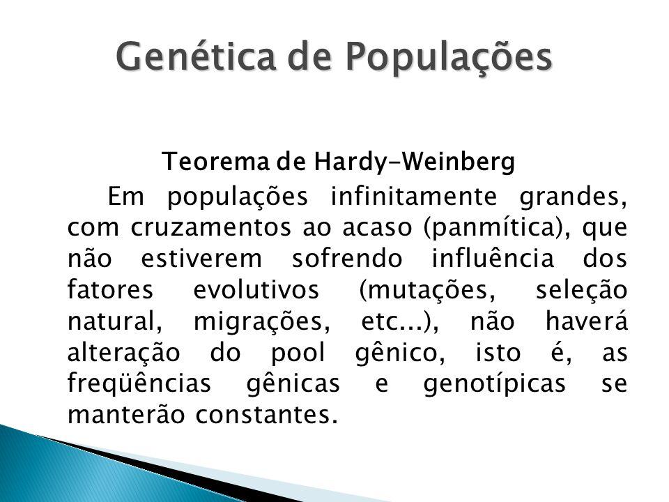 Genética de Populações Teorema de Hardy-Weinberg Em populações infinitamente grandes, com cruzamentos ao acaso (panmítica), que não estiverem sofrendo influência dos fatores evolutivos (mutações, seleção natural, migrações, etc...), não haverá alteração do pool gênico, isto é, as freqüências gênicas e genotípicas se manterão constantes.