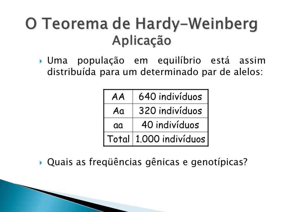 O Teorema de Hardy-Weinberg Aplicação Uma população em equilíbrio está assim distribuída para um determinado par de alelos: Quais as freqüências gênicas e genotípicas.