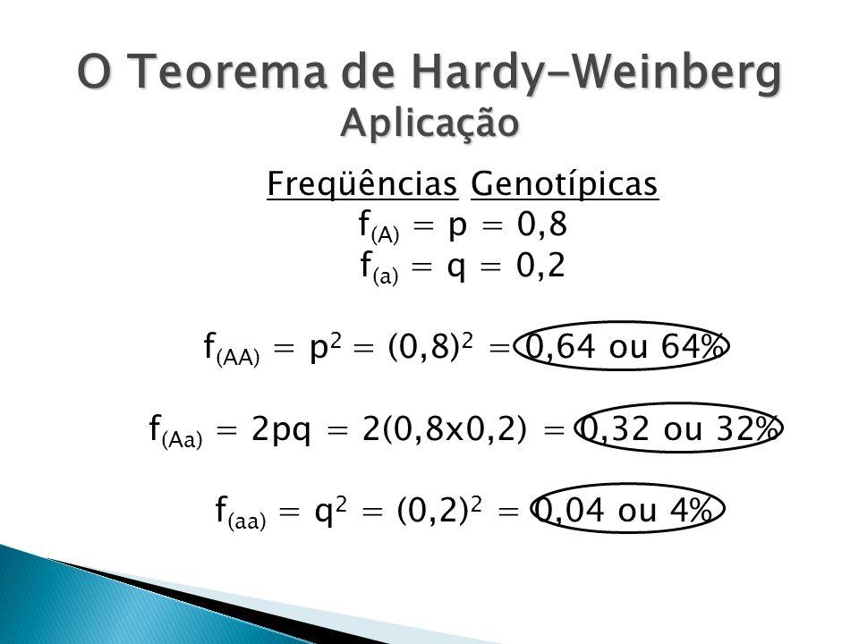 O Teorema de Hardy-Weinberg Aplicação Freqüências Genotípicas f (A) = p = 0,8 f (a) = q = 0,2 f (AA) = p 2 = (0,8) 2 = 0,64 ou 64% f (Aa) = 2pq = 2(0,8x0,2) = 0,32 ou 32% f (aa) = q 2 = (0,2) 2 = 0,04 ou 4%