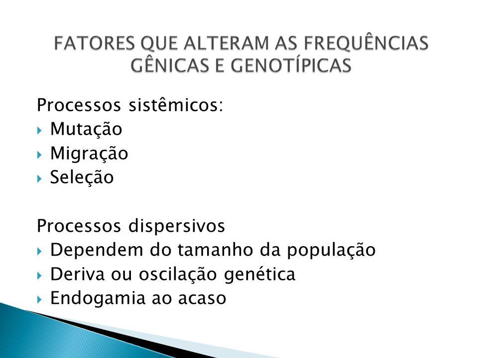 Processos sistêmicos: Mutação Migração Seleção Processos dispersivos Dependem do tamanho da população Deriva ou oscilação genética Endogamia ao acaso