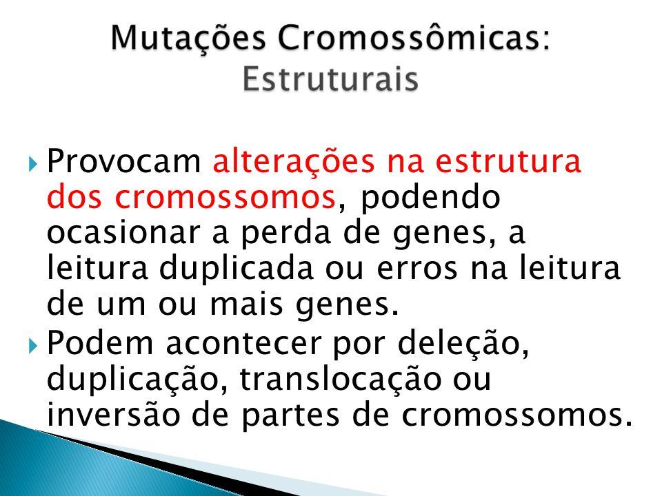 Provocam alterações na estrutura dos cromossomos, podendo ocasionar a perda de genes, a leitura duplicada ou erros na leitura de um ou mais genes.