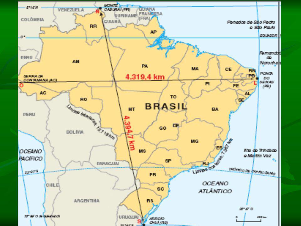 O corpo da pátria O corpo da pátria O Brasil possui o quinto maior país em extensão territorial do mundo, com uma área de cerca de 8,5 milhões de Km², sendo o maior da América do Sul e possuindo fronteiras terrestres com todos os países desse continente, exceto: Chile e Equador.