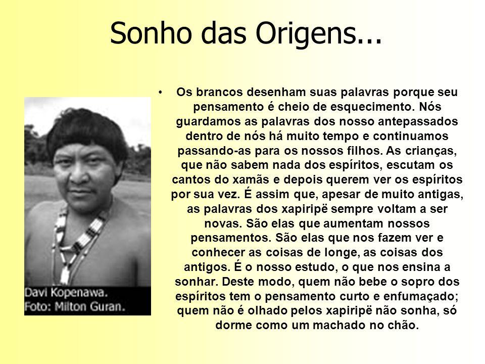 Sonho das Origens... Os brancos desenham suas palavras porque seu pensamento é cheio de esquecimento. Nós guardamos as palavras dos nosso antepassados
