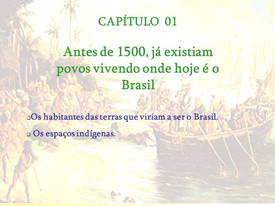 CAPÍTULO 01 Antes de 1500, já existiam povos vivendo onde hoje é o Brasil Os habitantes das terras que viriam a ser o Brasil. Os espaços indígenas.