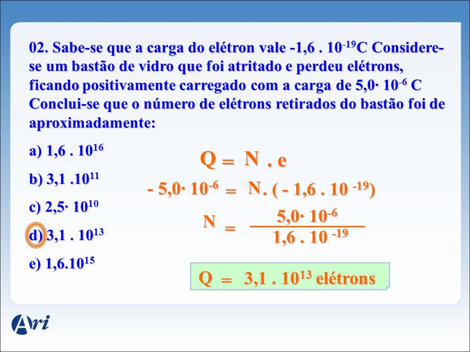 02.Sabe-se que a carga do elétron vale -1,6.