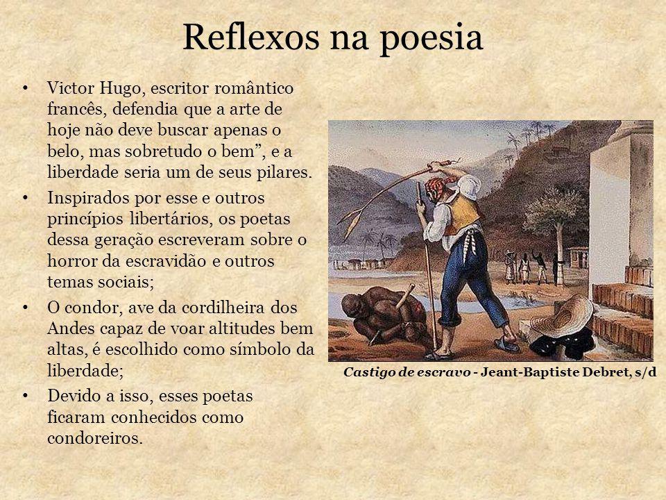 Reflexos na poesia Victor Hugo, escritor romântico francês, defendia que a arte de hoje não deve buscar apenas o belo, mas sobretudo o bem, e a liberd