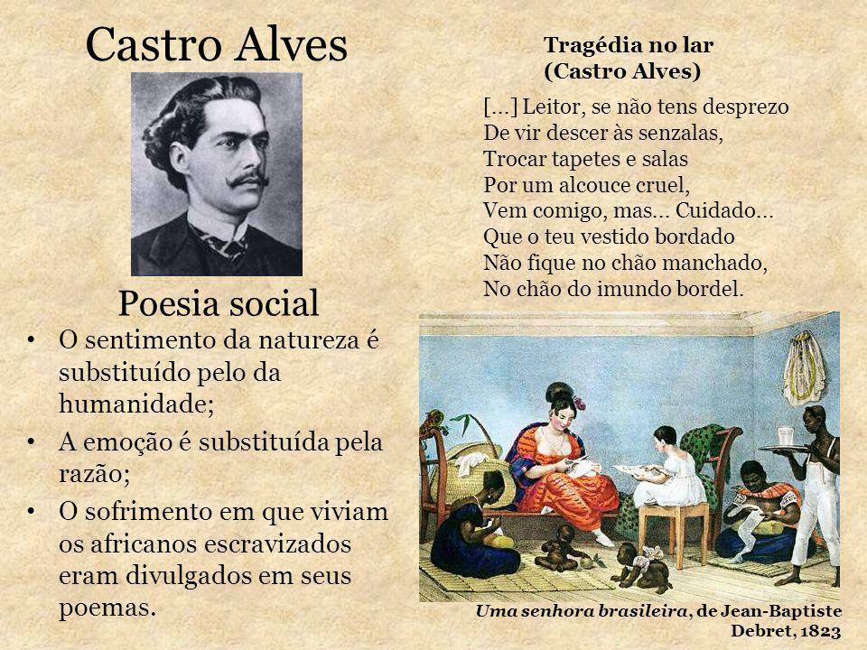 Castro Alves O sentimento da natureza é substituído pelo da humanidade; A emoção é substituída pela razão; O sofrimento em que viviam os africanos esc