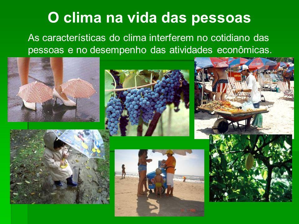 O clima na vida das pessoas As características do clima interferem no cotidiano das pessoas e no desempenho das atividades econômicas.