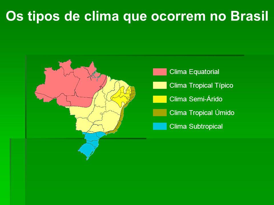 Clima Equatorial Os tipos de clima que ocorrem no Brasil As temperaturas são bastante elevadas durante o ano, com média de 25ºC.