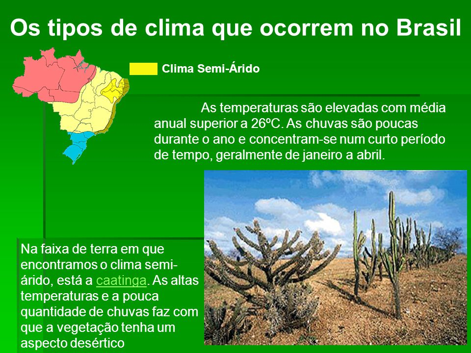Os tipos de clima que ocorrem no Brasil Clima Semi-Árido As temperaturas são elevadas com média anual superior a 26ºC.