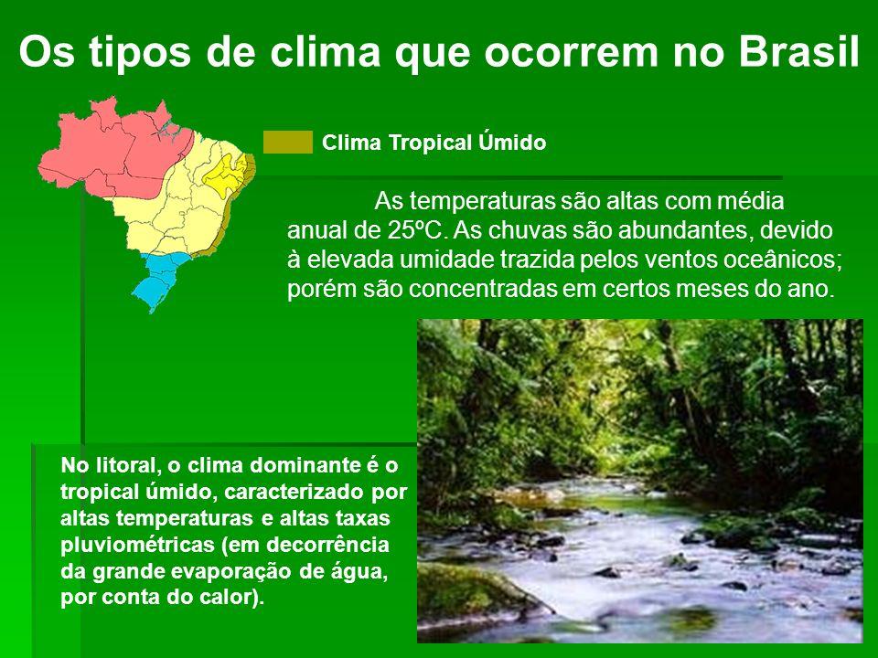 Os tipos de clima que ocorrem no Brasil Clima Tropical Úmido As temperaturas são altas com média anual de 25ºC. As chuvas são abundantes, devido à ele