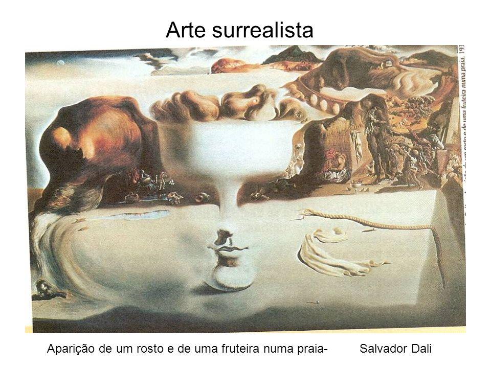 Arte surrealista Aparição de um rosto e de uma fruteira numa praia- Salvador Dali