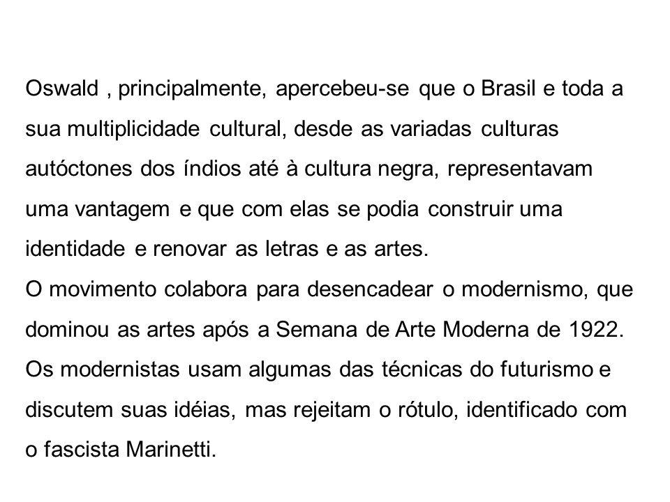 Oswald, principalmente, apercebeu-se que o Brasil e toda a sua multiplicidade cultural, desde as variadas culturas autóctones dos índios até à cultura