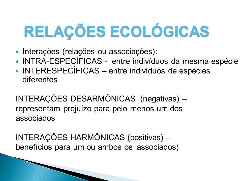 RELAÇÕES ECOLÓGICAS Interações (relações ou associações): INTRA-ESPECÍFICAS - entre indivíduos da mesma espécie INTERESPECÍFICAS – entre indivíduos de espécies diferentes INTERAÇÕES DESARMÔNICAS (negativas) – representam prejuízo para pelo menos um dos associados INTERAÇÕES HARMÔNICAS (positivas) – benefícios para um ou ambos os associados)