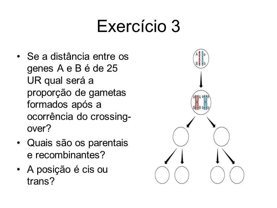 Exercício 3 Se a distância entre os genes A e B é de 25 UR qual será a proporção de gametas formados após a ocorrência do crossing- over? Quais são os