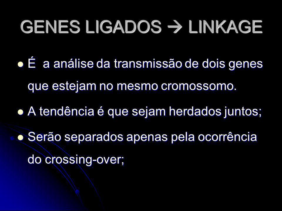 GENES LIGADOS LINKAGE É a análise da transmissão de dois genes que estejam no mesmo cromossomo. É a análise da transmissão de dois genes que estejam n