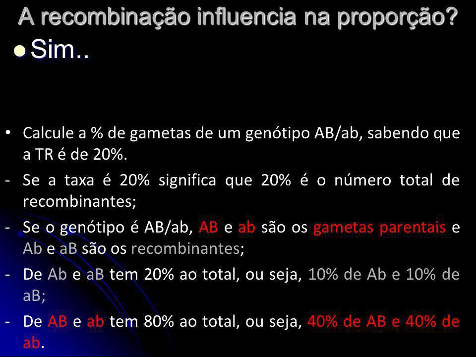 A recombinação influencia na proporção? Sim.. Sim.. Calcule a % de gametas de um genótipo AB/ab, sabendo que a TR é de 20%. -Se a taxa é 20% significa