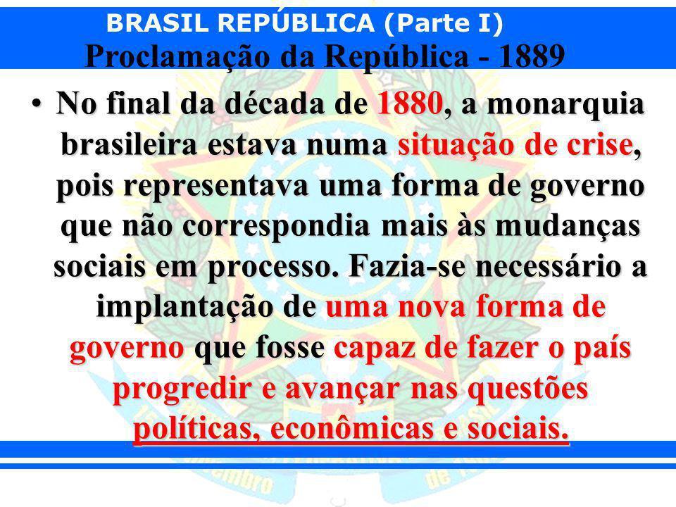 BRASIL REPÚBLICA (Parte I) Proclamação da República - 1889 No final da década de 1880, a monarquia brasileira estava numa situação de crise, pois repr