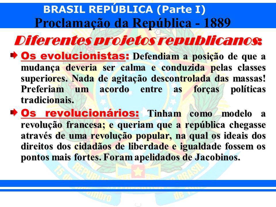 BRASIL REPÚBLICA (Parte I) Proclamação da República - 1889 Diferentes projetos republicanos: Os evolucionistas: Defendiam a posição de que a mudança d