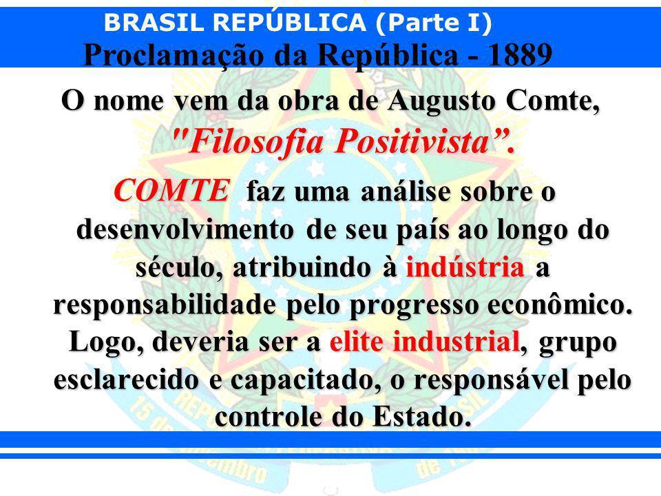 BRASIL REPÚBLICA (Parte I) Proclamação da República - 1889 O nome vem da obra de Augusto Comte,