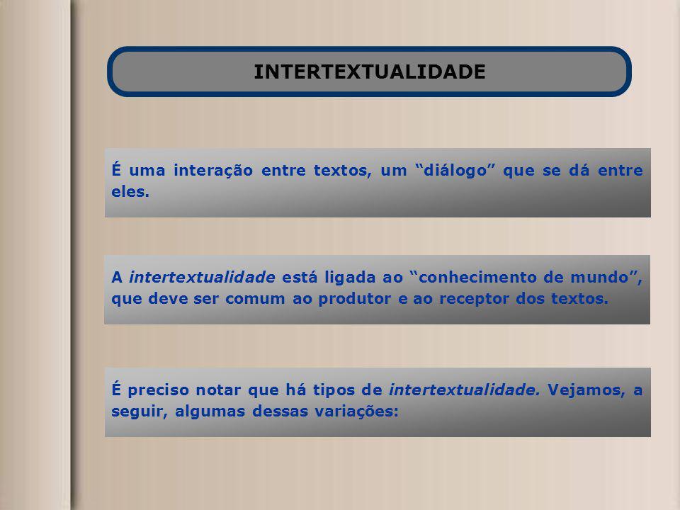 É uma interação entre textos, um diálogo que se dá entre eles. A intertextualidade está ligada ao conhecimento de mundo, que deve ser comum ao produto