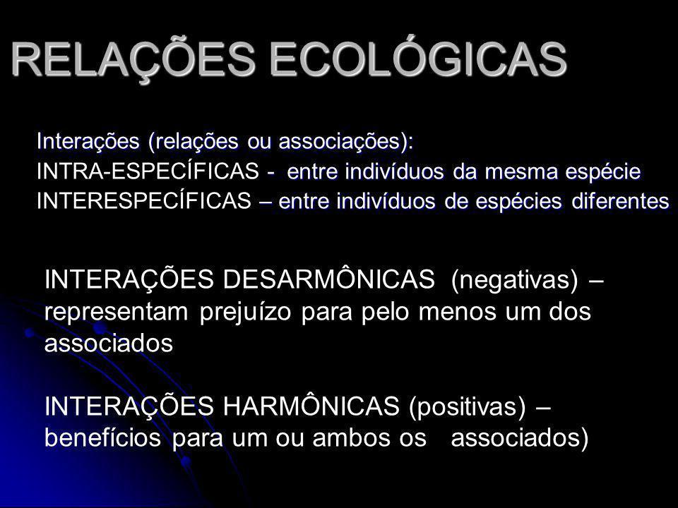 RELAÇÕES ECOLÓGICAS Interações (relações ou associações): - entre indivíduos da mesma espécie INTRA-ESPECÍFICAS - entre indivíduos da mesma espécie – entre indivíduos de espécies diferentes INTERESPECÍFICAS – entre indivíduos de espécies diferentes INTERAÇÕES DESARMÔNICAS (negativas) – representam prejuízo para pelo menos um dos associados INTERAÇÕES HARMÔNICAS (positivas) – benefícios para um ou ambos os associados)