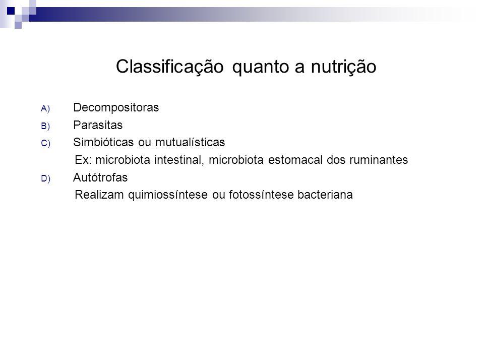 Classificação quanto a nutrição A) Decompositoras B) Parasitas C) Simbióticas ou mutualísticas Ex: microbiota intestinal, microbiota estomacal dos rum