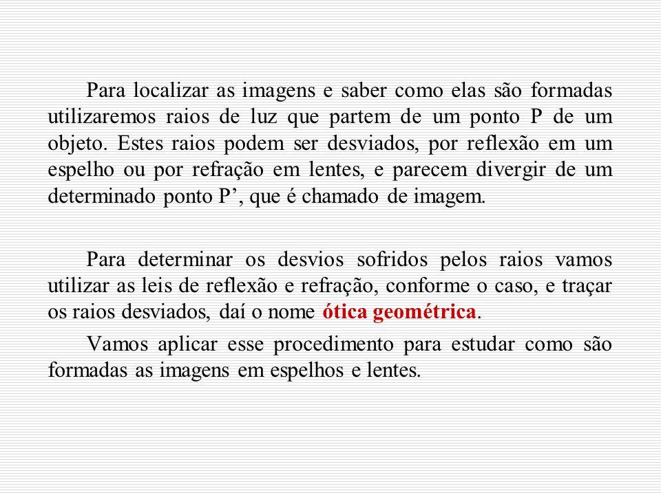 Imagem de um ponto num espelho plano objeto Espelho imagem Para que um observador consiga ver uma imagem refletida pelo espelho é preciso que raios provenientes do objeto sejam refletidos pelo espelho e alcancem seu olho.