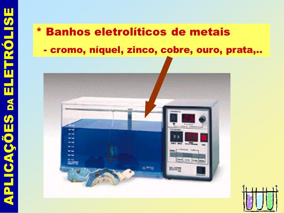 ELETRÓLISE Leis de Faraday Exemplo: Calcular a massa de níquel depositado numa eletrólise realizada durante 10 minutos, por uma corrente de 9,65 ampéres, usando uma solução aquosa de NiSO 4.