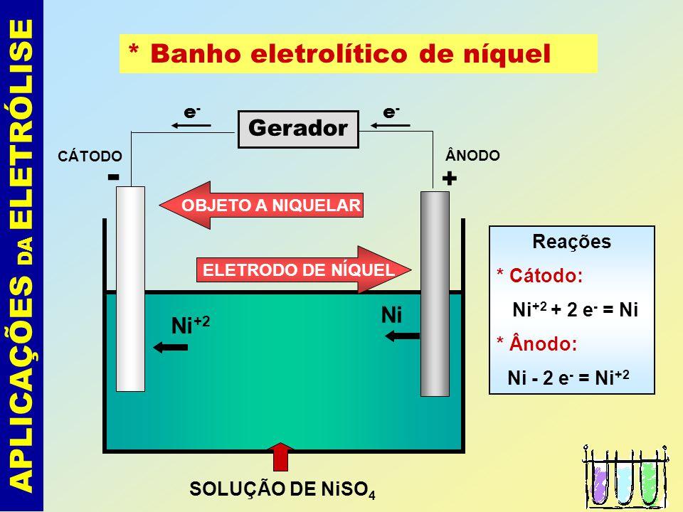 APLICAÇÕES DA ELETRÓLISE * Banhos eletrolíticos de metais - cromo, níquel, zinco, cobre, ouro, prata,..