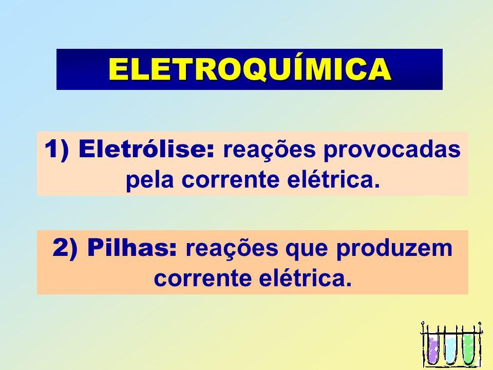 APLICAÇÕES DA ELETRÓLISE * Banho eletrolítico de níquel Reações * Cátodo: Ni +2 + 2 e - = Ni * Ânodo: Ni - 2 e - = Ni +2 - CÁTODO + Gerador SOLUÇÃO DE NiSO 4 Ni OBJETO A NIQUELAR ÂNODO e-e- e-e- Ni +2 ELETRODO DE NÍQUEL