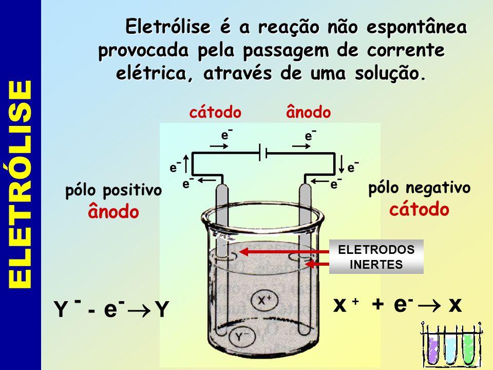 ELETROQUÍMICA 1) Eletrólise: reações provocadas pela corrente elétrica. 2) Pilhas: reações que produzem corrente elétrica.