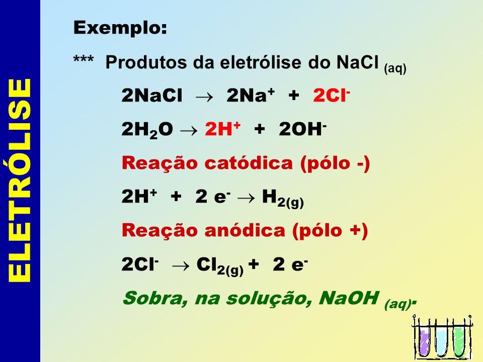 ELETRÓLISE Exemplo: *** Produtos da eletrólise do NaCl (aq) 2NaCl 2Na + + 2Cl - 2H 2 O 2H + + 2OH - Reação catódica (pólo -) 2H + + 2 e - H 2(g) Reação anódica (pólo +) 2Cl - Cl 2(g) + 2 e - Sobra, na solução, NaOH (aq).