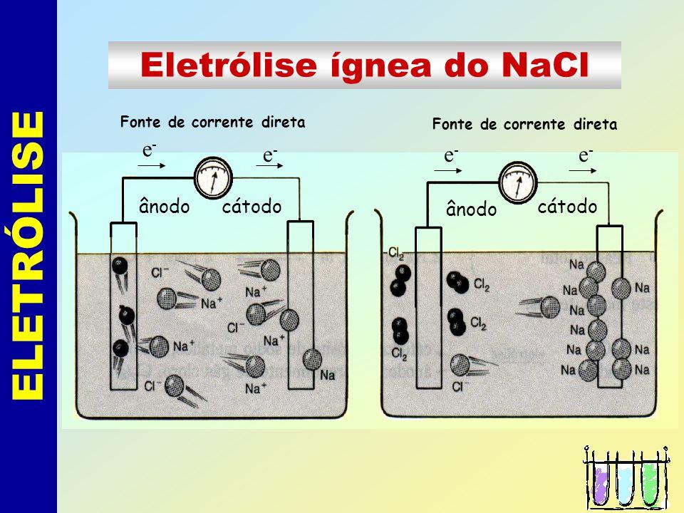 ELETRÓLISE Eletrólise ígnea do NaCl Fonte de corrente direta cátodo ânodo e-e- e-e- e-e- e-e-