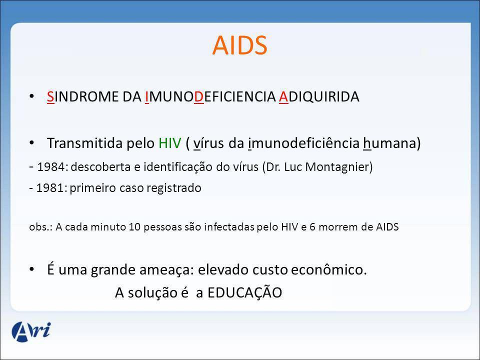 AIDS SINDROME DA IMUNODEFICIENCIA ADIQUIRIDA Transmitida pelo HIV ( vírus da imunodeficiência humana) - 1984: descoberta e identificação do vírus (Dr.