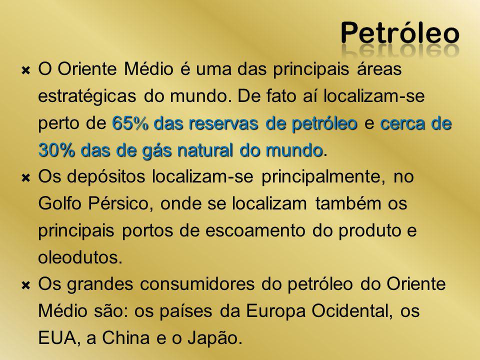 65 das reservas de petróleo cerca de 30% das de gás natural do mundo O Oriente Médio é uma das principais áreas estratégicas do mundo. De fato aí loca