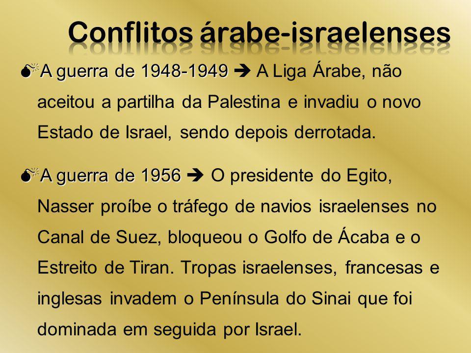 A guerra de 1948-1949 A guerra de 1948-1949 A Liga Árabe, não aceitou a partilha da Palestina e invadiu o novo Estado de Israel, sendo depois derrotad