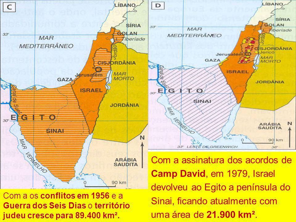A divisão da Palestina feita pela ONU em 29 de novembro de 1947 deu a Israel um território de 14.400 km². Após os conflitos de 1948-1949 o Estado de I