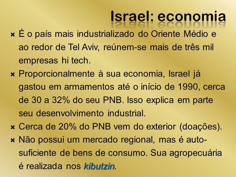 É o país mais industrializado do Oriente Médio e ao redor de Tel Aviv, reúnem-se mais de três mil empresas hi tech. Proporcionalmente à sua economia,