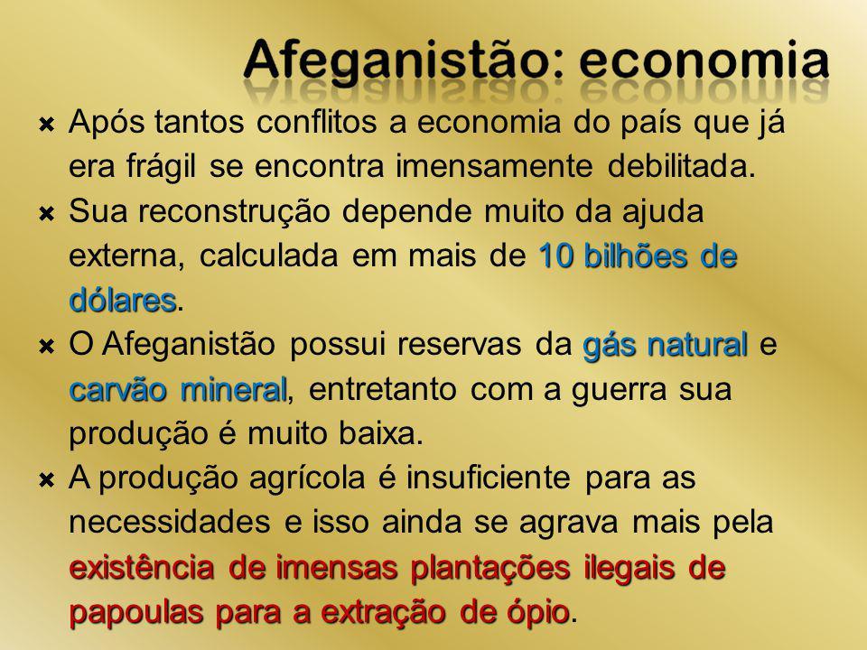 Após tantos conflitos a economia do país que já era frágil se encontra imensamente debilitada. 10 bilhões de dólares Sua reconstrução depende muito da