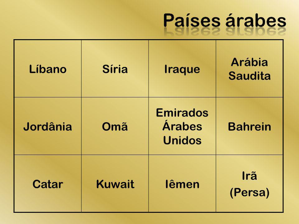 LíbanoSíriaIraque Arábia Saudita JordâniaOmã Emirados Árabes Unidos Bahrein CatarKuwaitIêmen Irã (Persa)