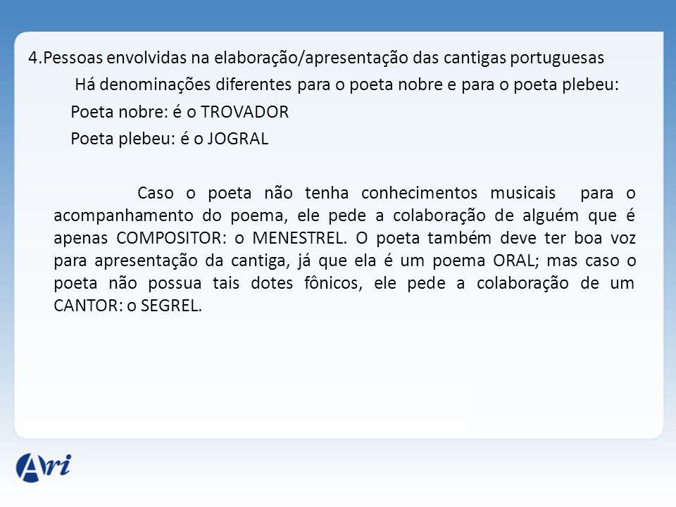 4.Pessoas envolvidas na elaboração/apresentação das cantigas portuguesas Há denominações diferentes para o poeta nobre e para o poeta plebeu: Poeta no